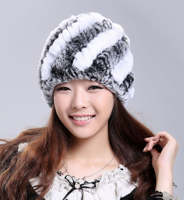 Luxury Autumn Winter Women's Genuine Real Knitted Rex Rabbit Fur Hats Handmade Lady Warm Caps Female Beanies Headgear VF0202