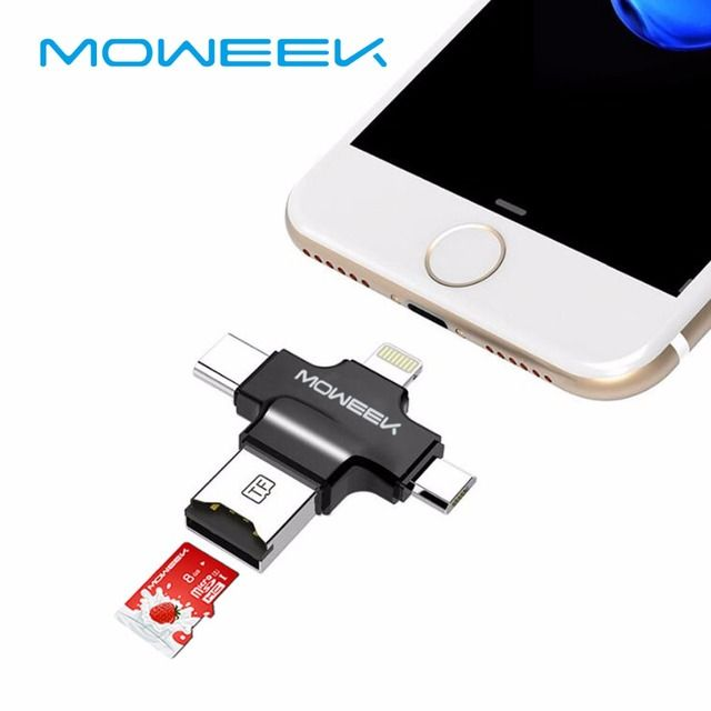 Moweek 4 in 1 Type-c/Lightning/Micro USB/USB 2.0 Memory Card Reader Micro SD Card Reader for Android Ipad/iphone 7 OTG reader