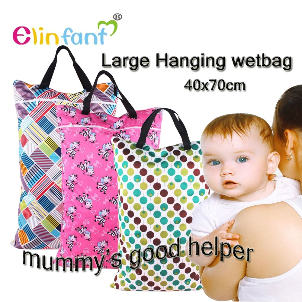 Elinfant 1 pcspail bag  large hanging wetbag nappy diaper bag laundry waterproof 40x70cm#SMT002#