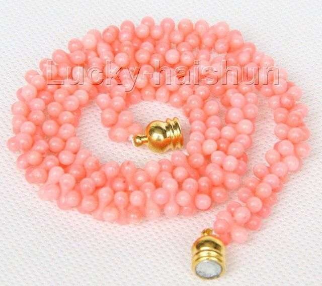 "NEW Choker 16"" 9mm bone shape pink coral necklace magnet clasp j9768"