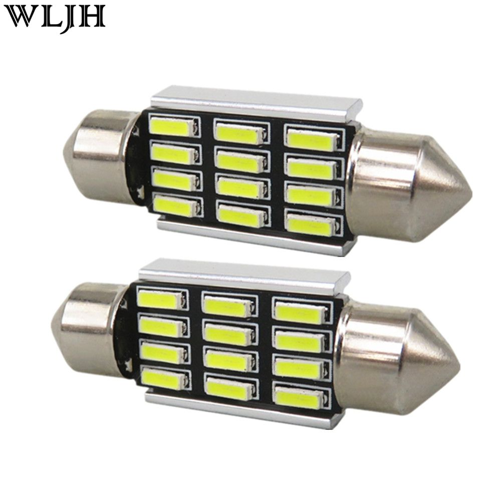 WLJH 4x Canbus 39mm 4014 LED Auto Lamp Bulb Car Number License Plate Light for BMW 5 SERIES E39 E46 E60 E61 E81 E90 E91 E92 E93