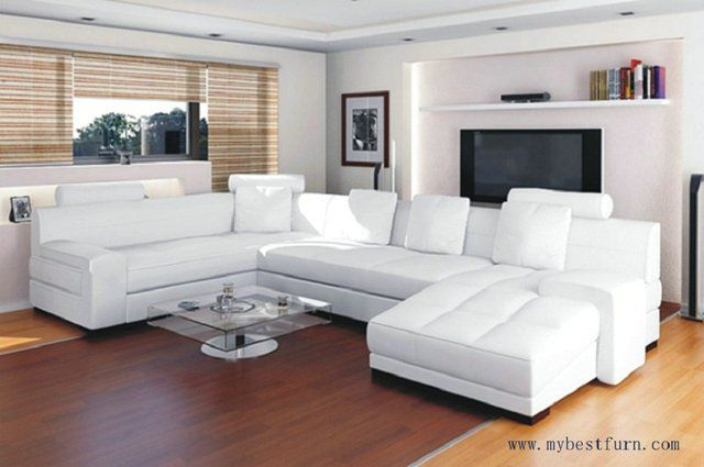 Free Shipping Top Grain Cattle Leather Sofa Set, white and customized leather color sofa U shaped S8568