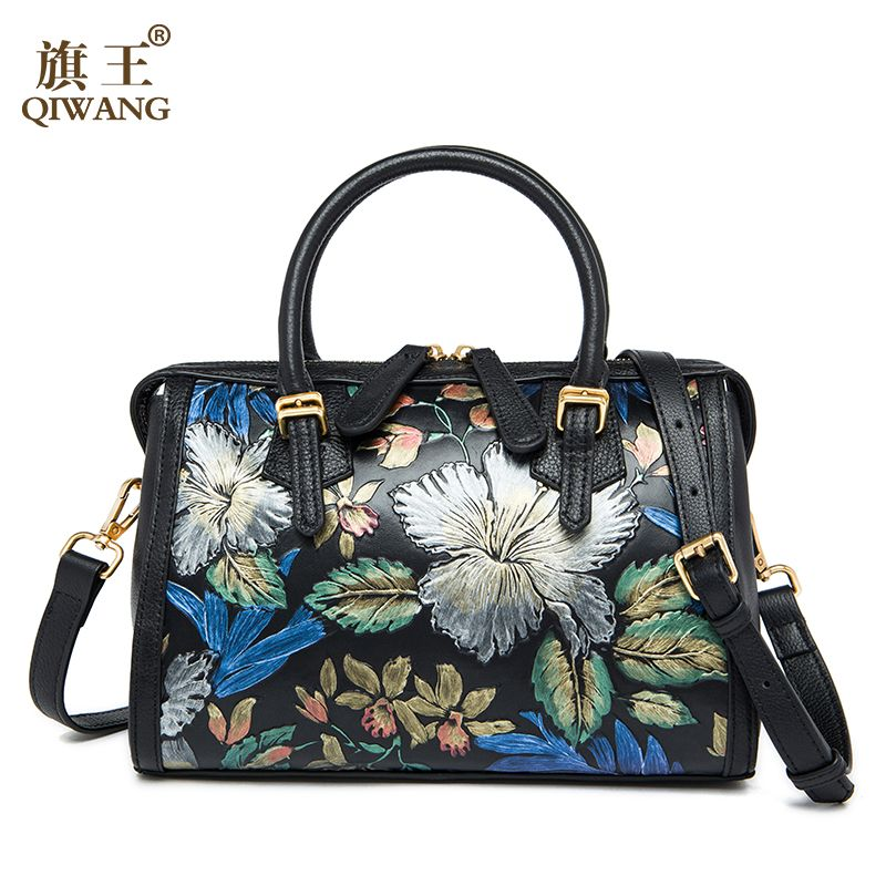 QIWANG Flower Boston Women Handbag Brand QIWANG Luxurious Flower Bag Feminina Luxury Handbags Women Bags Designer High Quality