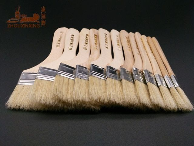 12Pcs/Set,Watercolor oil Art Paint Brush pig Bristle painting art brush Easy To Clean wooden cleaning brush BBQ scrubbing brush