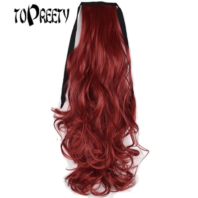 "TOPREETY Heat Resistant B5 Synthetic 18"" 45cm 90gr Wavy Clip in Ribbon Ponytail Extensions"