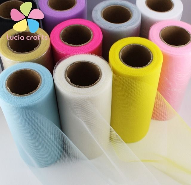 15cm 25yards Polyester Colorful Tissue Tulle Paper Roll Spool Craft Wedding Birthday Holiday Decor 1roll/lot 084014