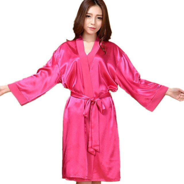 Top Quality New Hot Pink Chiese Women Silk Chiffon Robe Sexy Kimono Bath Gown Sleepwear Nightgown Casual Robe One Size T01