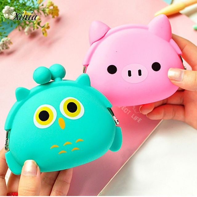 Cute Wallet Kawaii Cartoon Candy Color Silicone Coin Purse Jelly Coin Purse Key Wallet Earphone Organizer Storage Box  pocket