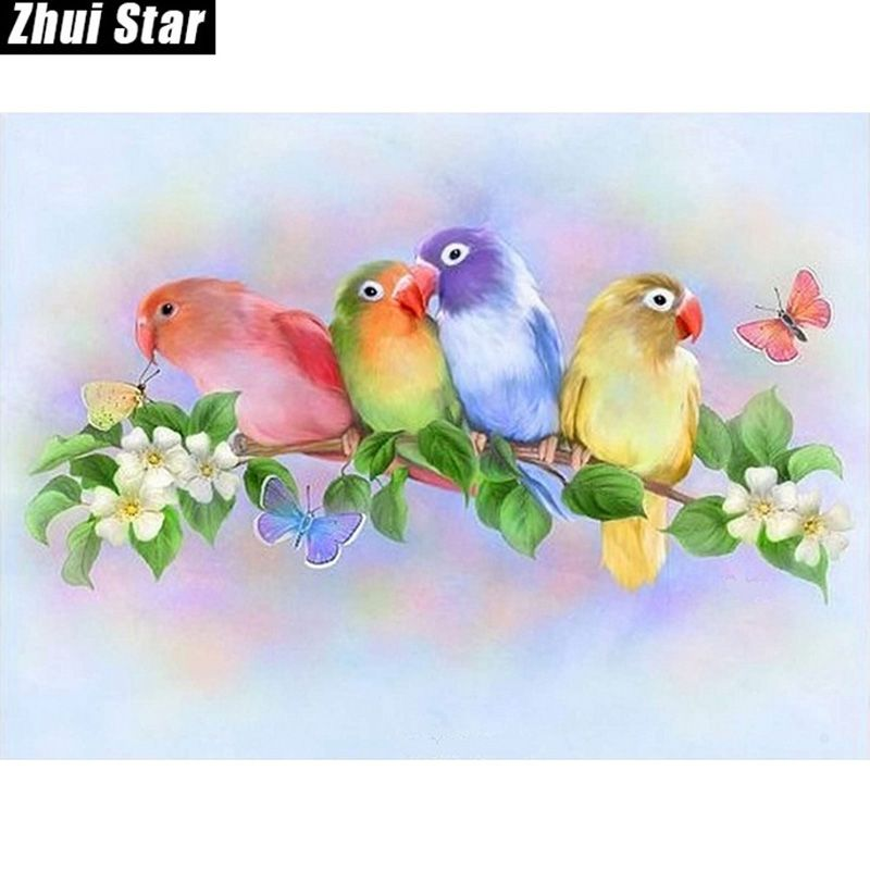 "Full Square Diamond 5D DIY Diamond Painting ""Colorful love bird"" Embroidery Cross Stitch Rhinestone Mosaic Painting Decor Gift"