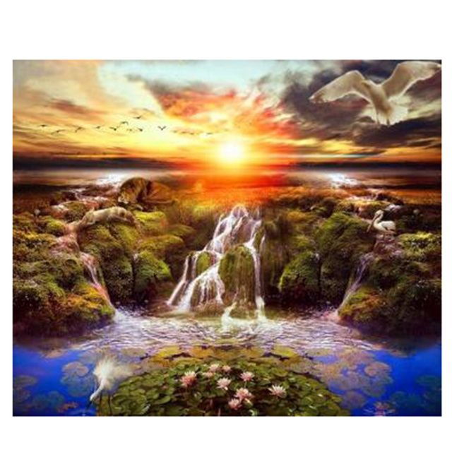 Needlework Full Embroidery Painting Cross Stitch Scenery 3D Diy Diamond Painting Kits Crystal Square Drill Diamond Sunset River