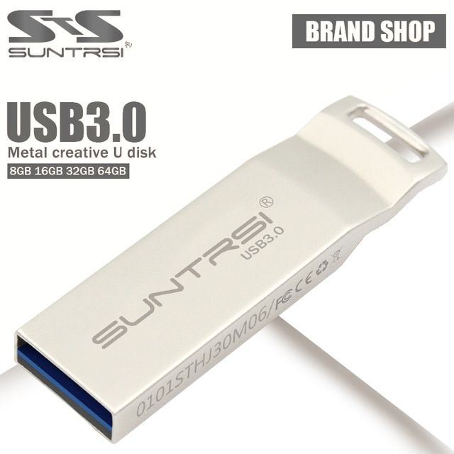 Suntrsi Pendrive usb 3.0 Metal USB Flash Drive 64gb 32gb Pen Dirve 16gb 8gb Customized Logo Printing 128GB Usb stick high speed