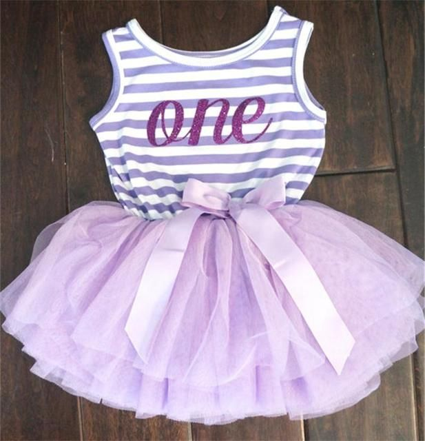 Girl Dress 1 Year Birthday Dress Toddler Girls Clothes One-piece Print Kids Dresses For Wedding Party Wear Stripe Dress For 0-2Y