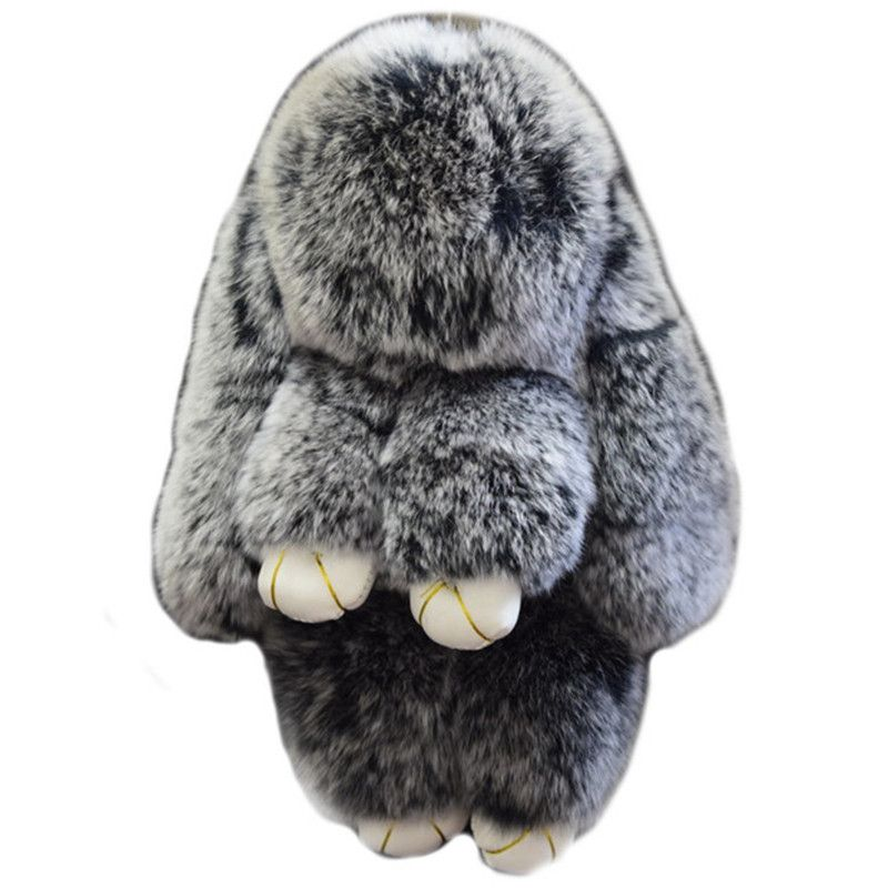 Valpeak 18cm Fluffy Bunny Keychain Womens Bag Charms Car Pendant Rabbit Keychain Plush Furry Real Rabbit Fur Toy Doll Key Chain