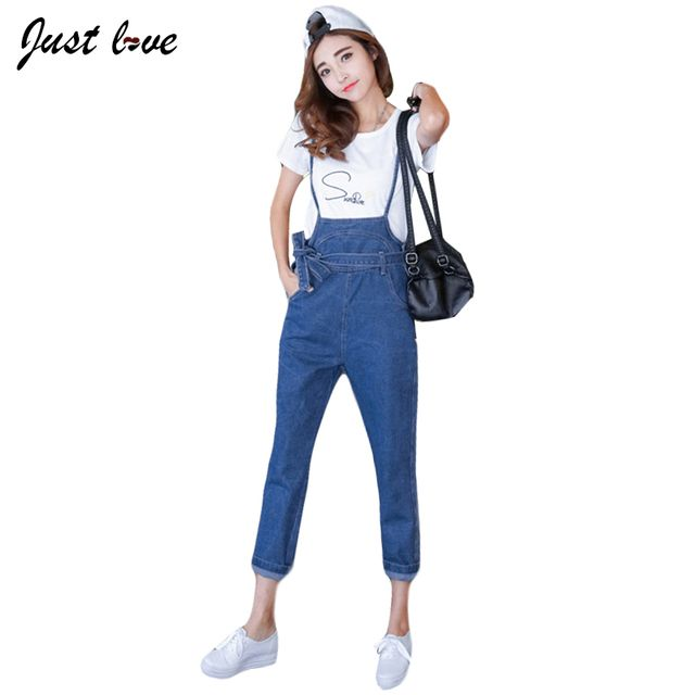 Women Spaghetti Straps Denim Overalls 2017 Spring Autumn Fashion Blue Ripped Loose Jeans Overall Jumpsuit with Sashes