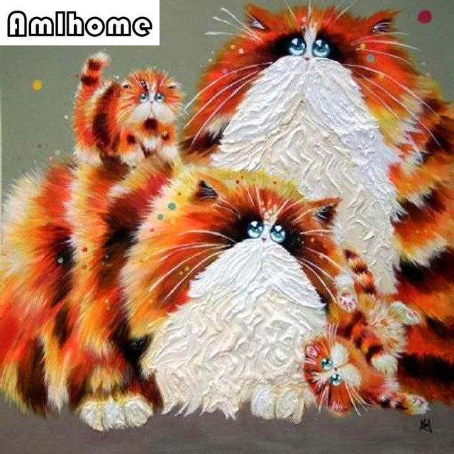 AMLHOME 2017 New 5D DIY Diamond Painting Animal Diamond Painting Cross Stitch Cat Animal Needlework Home Decorative HC0506