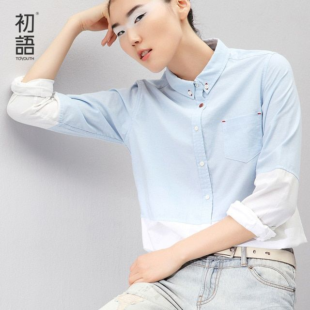 Toyouth Women Long Sleeve Turn Down Collar Blouse All-Match Single-Breasted Button Occupation Gradient Color Cotton Shirts Blue