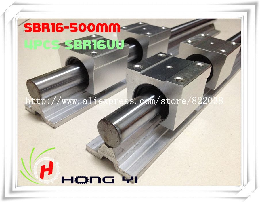 2 pcs SBR16 L = 500mm Linear Rails +4 pcs SBR16UU straight-line motion block for SFU1605 Ballscrew (can be cut any length)