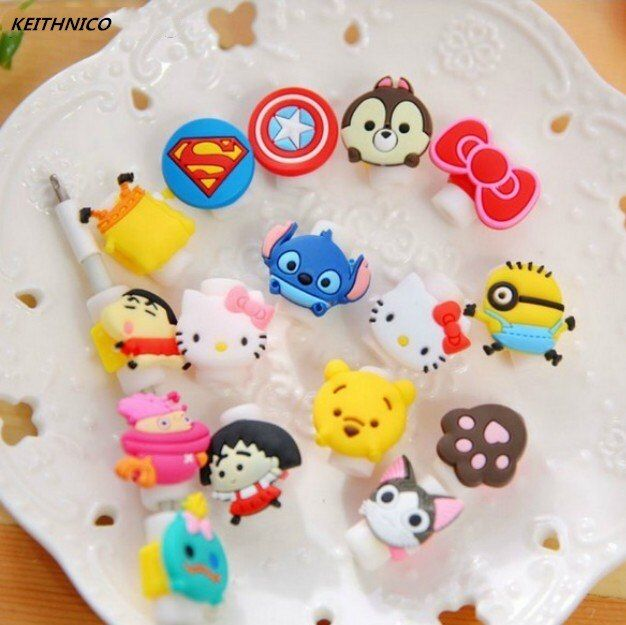 KEITHNICO 10pcs Cartoon Cable Saver Protector USB Charger Data Wire Line Protective Cover Cable Winder For iPhone 5s 6s