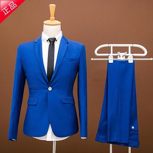 Men Prom Suits Plus Size 2015 New Brand Wedding Dress Men Business  Vintage Royal Blue Wedding Suit Groom Men Suit Slim Fit Suit