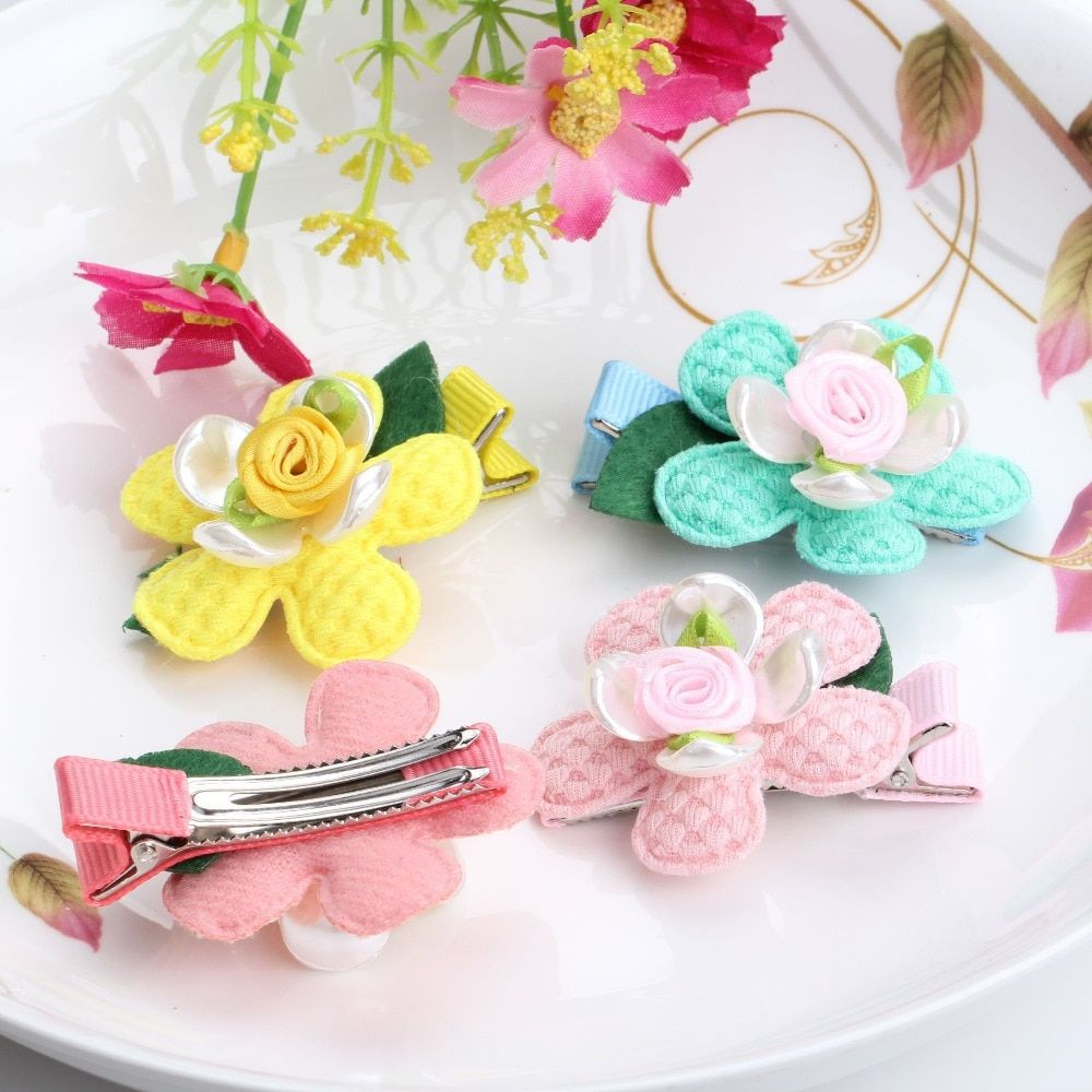 C Children New Shell Flower Ornaments Floral Kids Barrette Hair Jewelry Hair Clip Girls Hair Accessories Leaf Flowers Hairpins