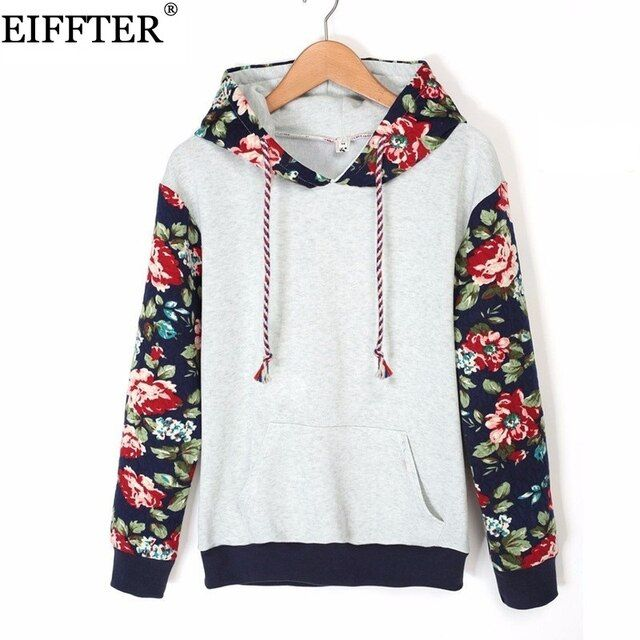 EIFFTER Autumn Winter Women Casual Thick Warm Floral Printed Hoodies Sweatshirts Long Sleeve Hooded Long Coat Jackets ZM0092