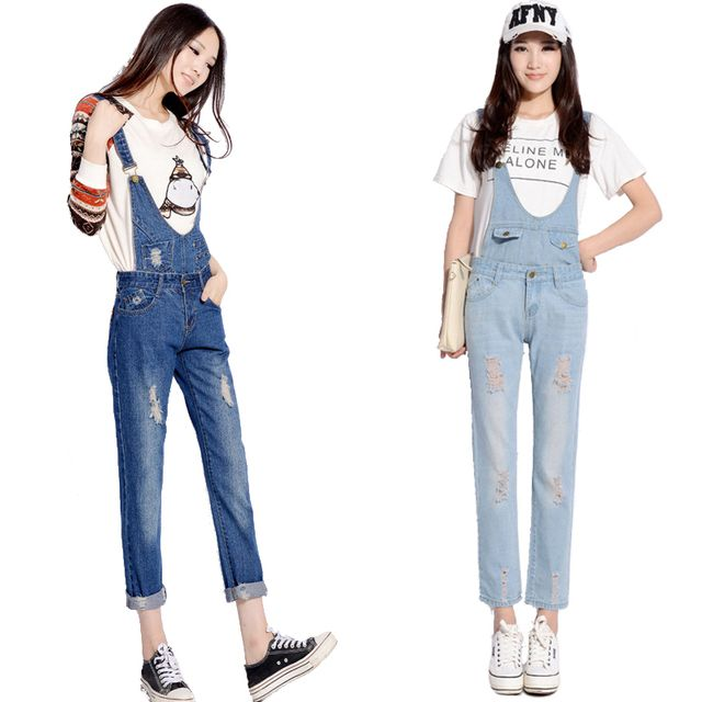 Womens Jumpsuit Denim Overalls Casual Skinny Girls Pants Jeans Denim Rompers Overalls Bodysuit Ripped Hole Distressed Pluse Size