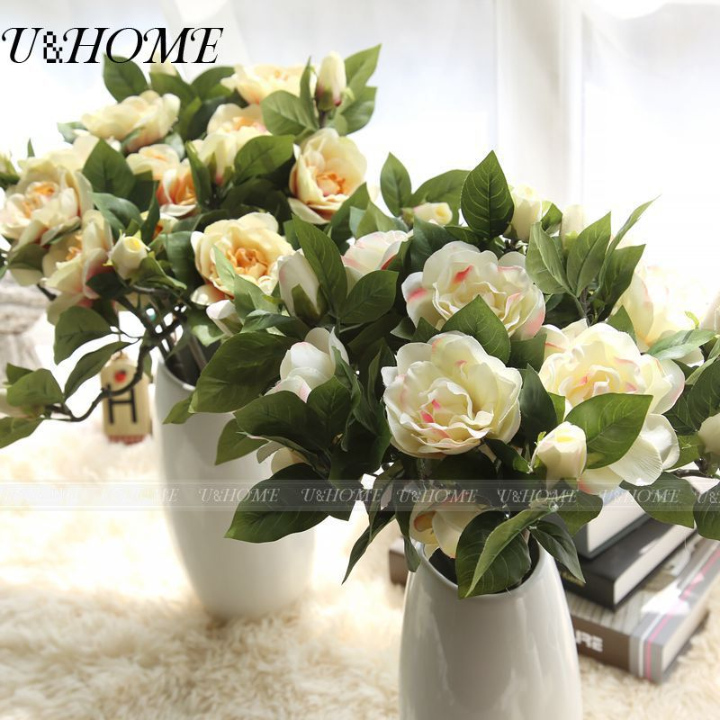 5 Pcs/Lot Artificial Silk Gardenia Fake Flower Tea Rose With Stem For Wedding Party Home Decoration DIY Bouquet Accessories Bulk