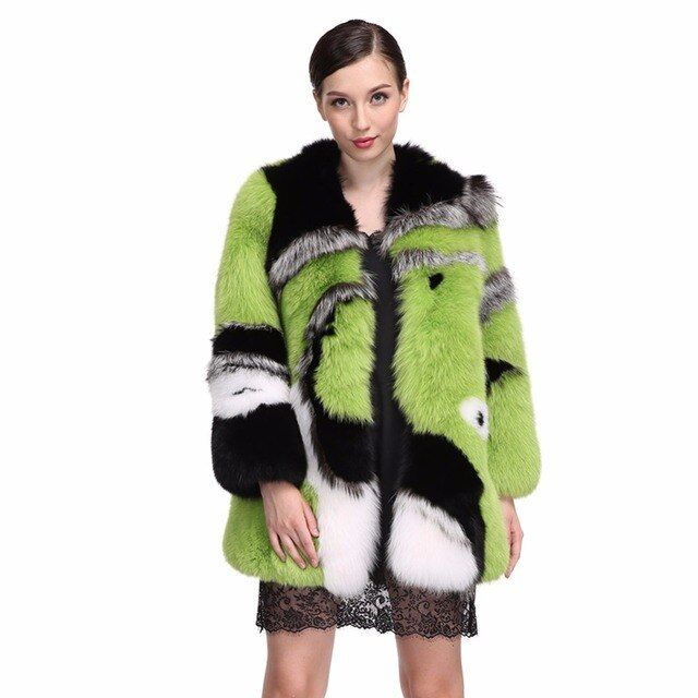 DHL High Quality 100% Full Leather Real Fox Fur Coat Women Long Green Natural Blue Fox Fur Garment Winter Warm Overcoat Fur Coat