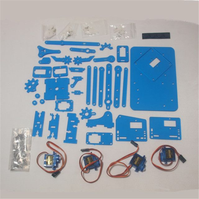 DIY meArm Mini Industrial Robotic Arm Deluxe Kit laser cut blue color acrylic plate frame +9 g micro Servos meArm learner kit