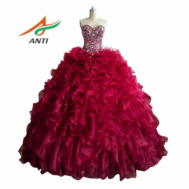 ANTI Luxury 2018 Quinceanera Dresses Beading Rhinestones Backless Plus Size Princess Vestidos De Quinceaneras Sweet 16 Dresses