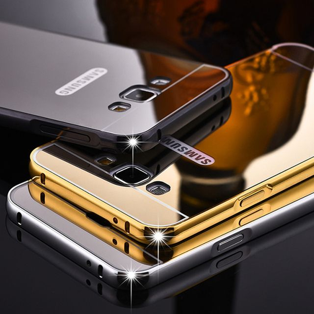 Luxury Metal Phone Case For Samsung Galaxy S8 Plus S7 Edge A3 A5 A7 J5 J7 Prime 2017 Plating Aluminum Frame+Mirror Back Cover