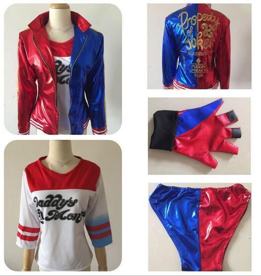 Suicide Squad Batman Harley Quinn Cosplay Costume Full Set Including Jackets, Shirt and Shorts