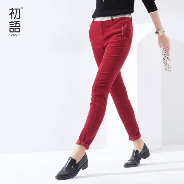 Toyouth 2017 Women Solid Pants Casual Pencil Pants Cotton Ladies Full Length Zipper Skinny XXL Fashion Trousers