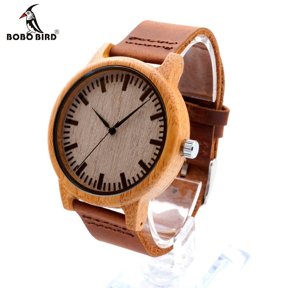BOBO BIRD Relogio Masculino Wooden Watches Men Genuine Leather Band Strap Bamboo Pattern Nature Wood Novel Wristwatch Male Clock