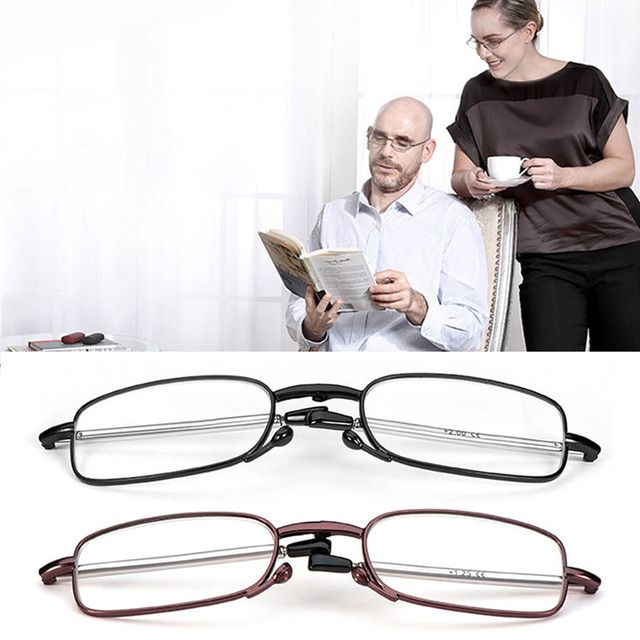 Women Men Slim Portable Telescopic Foot Reading Glasses folding Rotation Eyeglasses +1.0 +1.5 +2.0 +2.5 +3.0 +3.5 +4.0