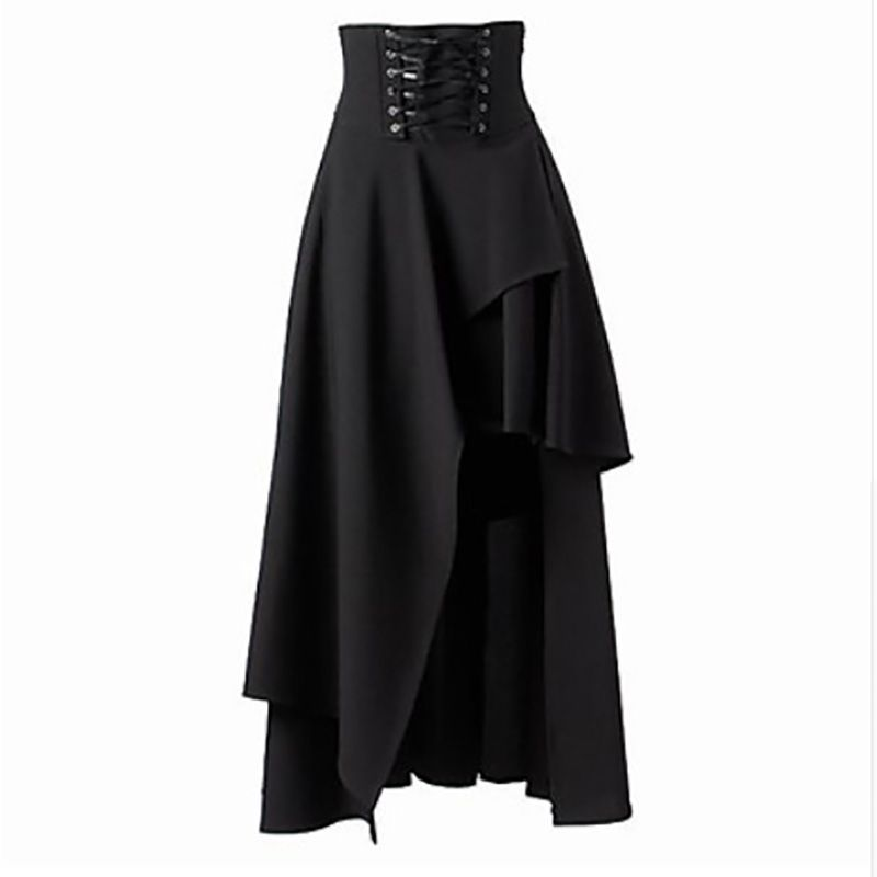 Steampunk Gothic Women 2017 Summer Lolita Skirt Black Cotton High Waist Long Skirts Victorian Midi Skirt Asymmetric Plus Size