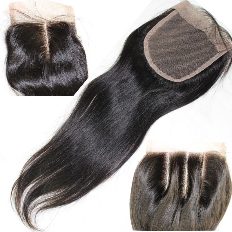 8A 4X4 Straight 3 Way Part Middle Part Brazilian Virgin Hair Lace Top Closure Human Hair Closure Brazilian Lace Closures