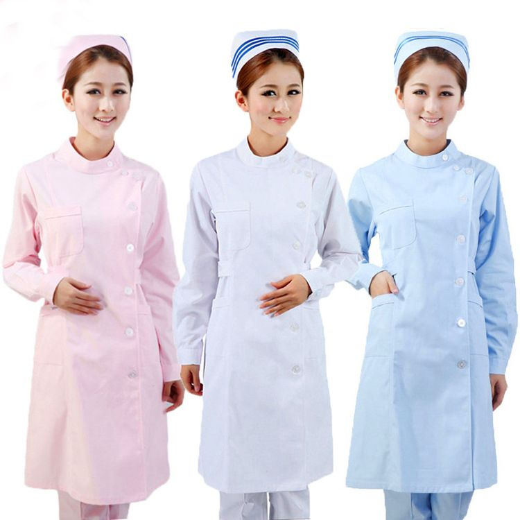 Summer 3 Color Nurse Uniform Coat+Hat Medical Robe Hospital Nurse Uniform Women Medical Uniforms Ladies Elegant White Lab Coat