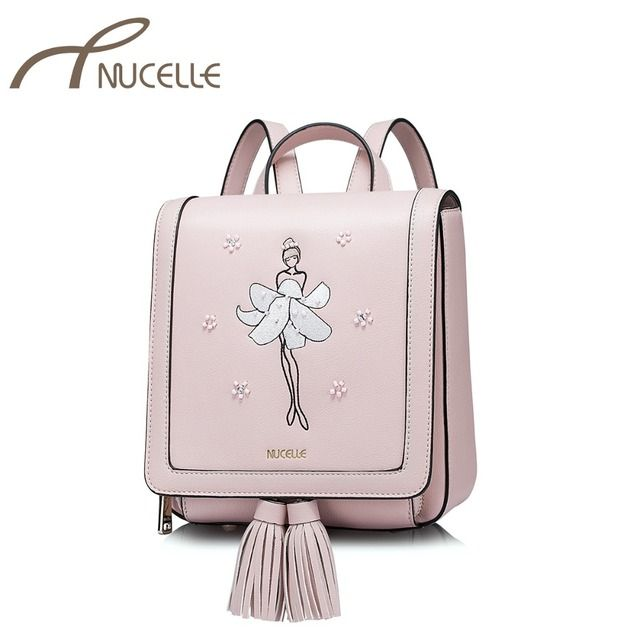 NUCELLE Women's PU Leather Backpack Ladies Leisure Ballet Dancer Embroidery Double Shoulder Bag Ladies Small Rucksack NZ4043