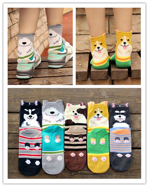 12 pairs/lot 2016 new style autumn winter cute cartoon dog Show Quingity lovers sock mid-calf length cotton sock The adult socks