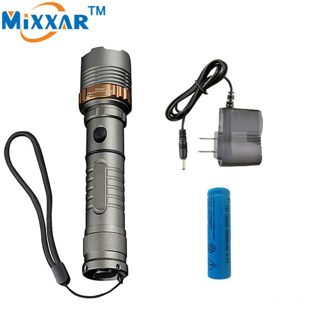 zk30 Self Defense LED flashlight Cree XM-L T6 Rechargeable 4000LM Torch lamps powerful Lantern Tactical 1x18650 5000mAh battery
