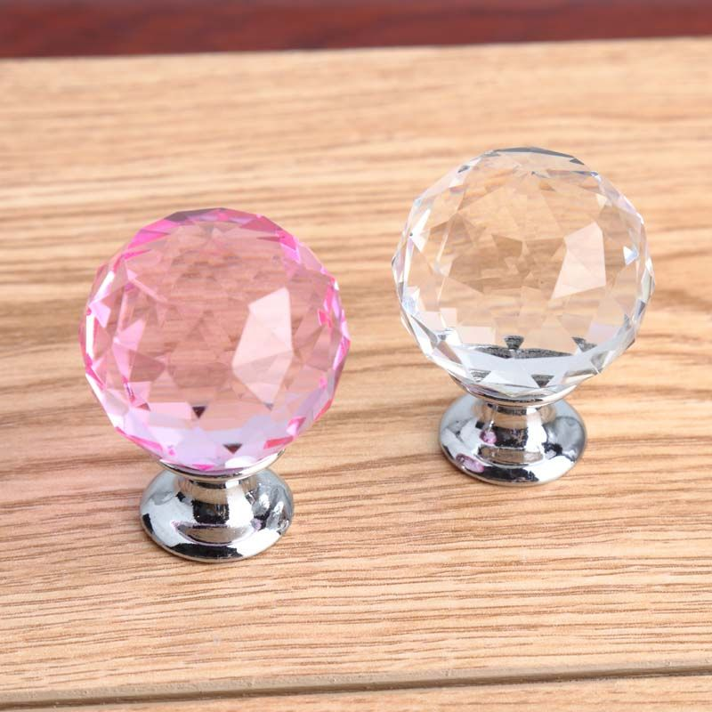 30mm pink crystal win cabinet drawer knob pull silver clear diamond head dresser kitchen cabinet door handle fashion deluxe knob