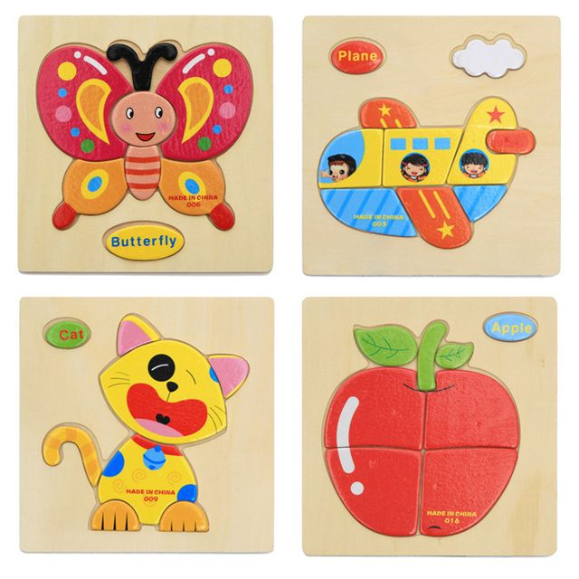 1 Pcs 16 Animals Shapes Jigsaw Hot Wooden Toys For Children Baby Kids Intelligence Educational Toys Cartoon Anti  Fallout Puzzle