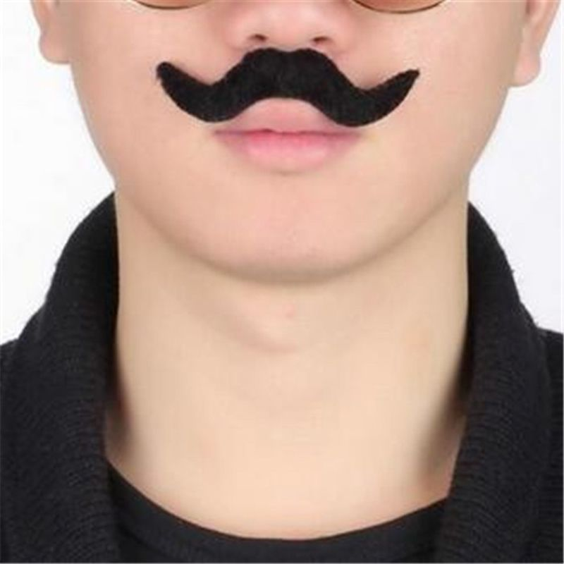 Free Shipping New 12Pcs/set Costume Party Halloween Decoration Funny Fake Mustache Beard Whisker Cosplay Accessory Tools