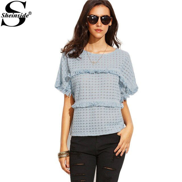 Sheinside Blue Short Sleeve Round Neck Tops Female Loose Fashion Tees Summer Style Clothing Tassel T-Shirt