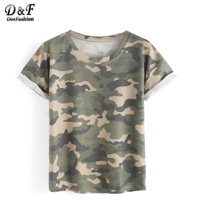 Dotfashion Women Tops Camouflage Summer Style New Arrival Casual Tees Crew Neck Print Rolled Short Sleeve T-shirt