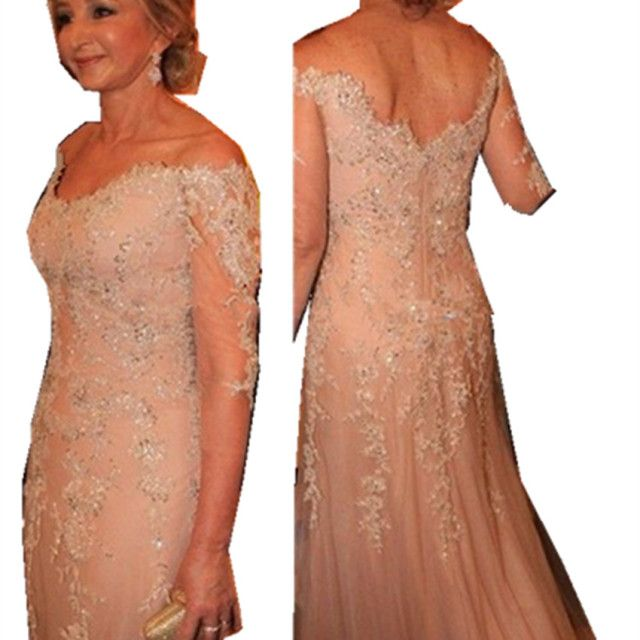 2015 Three Quarter Sleeves Champagne Mother of the Bride Dress for Weddings with Lace Appliques and Sequins and Beads Cheap