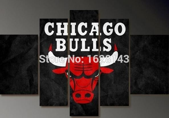 5 piece Large canvas art oil painting on canvas wall picture hand painted modern Home Decoration CHICAGO BULLS Basketball