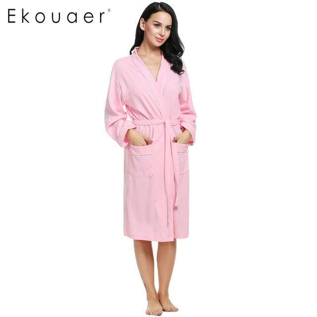 Ekouaer Cotton Women Robes Bathrobes Wedding Bridal Kimono Robe Long Sleeve Waffle-Weave Lady Spa Night Dress Sleepwear