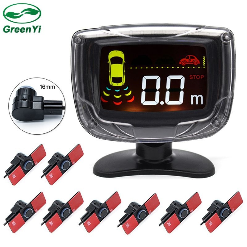 GreenYi 16mm Flat Parking Sensors, 8 Sensors LCD Display Buzzer Front Rear Reversing Radar Parking Assistance Monitor System